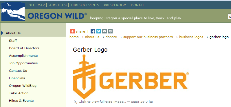 Gerber Gear supports anti-sportsmen group Oregon Wild