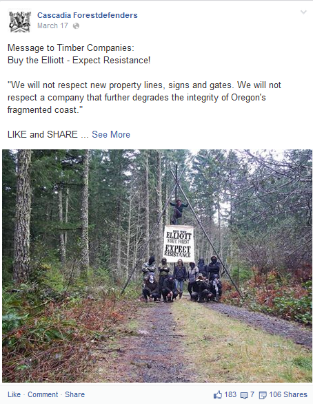 Oregon Wild is partners with domestic terrorist group
