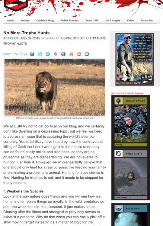 USIA Anti-Hunting Article about Cecil the Lion